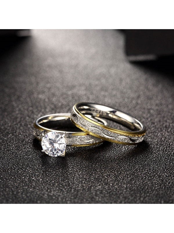 Double Layer Zircon Inlaid Stainless Steel Golden-Stripe Design Group Rings