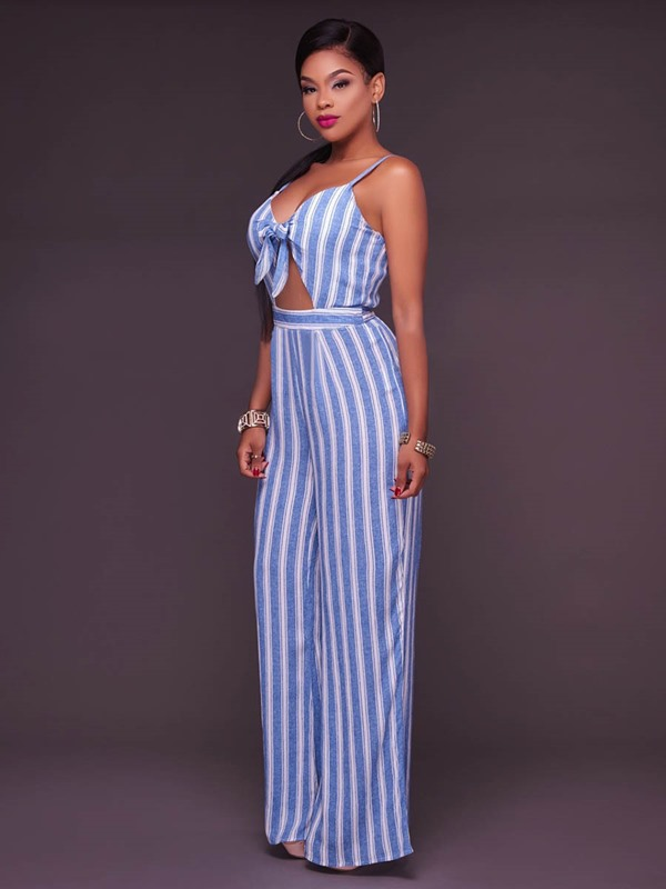 Stripe Hollow Backless Wide Legs Jumpsuits