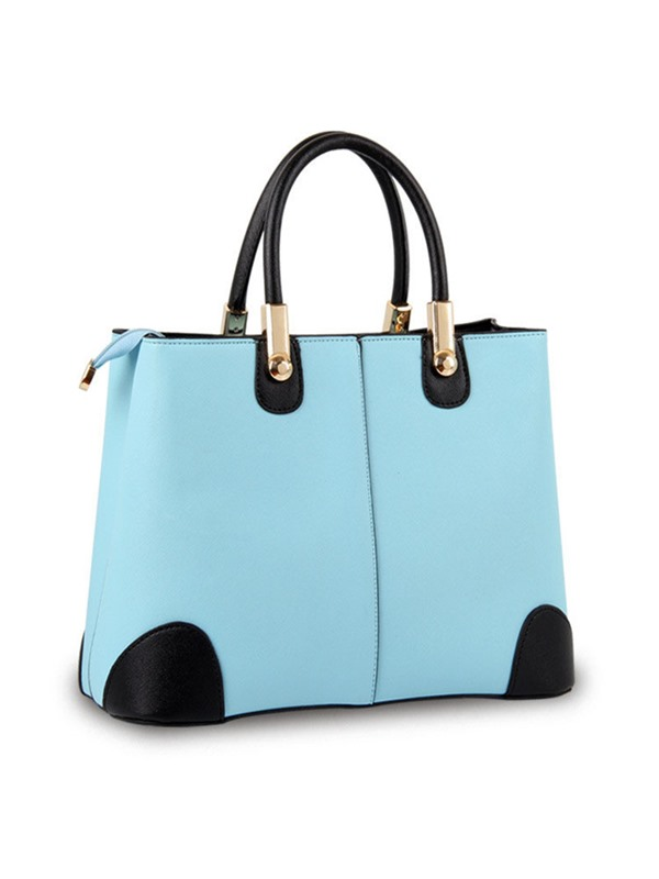 Concise Candy Color PU Satchel