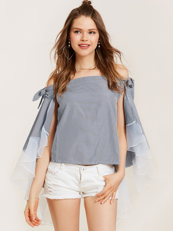 Slash Neck Stripe Patchwork Women's Blouse