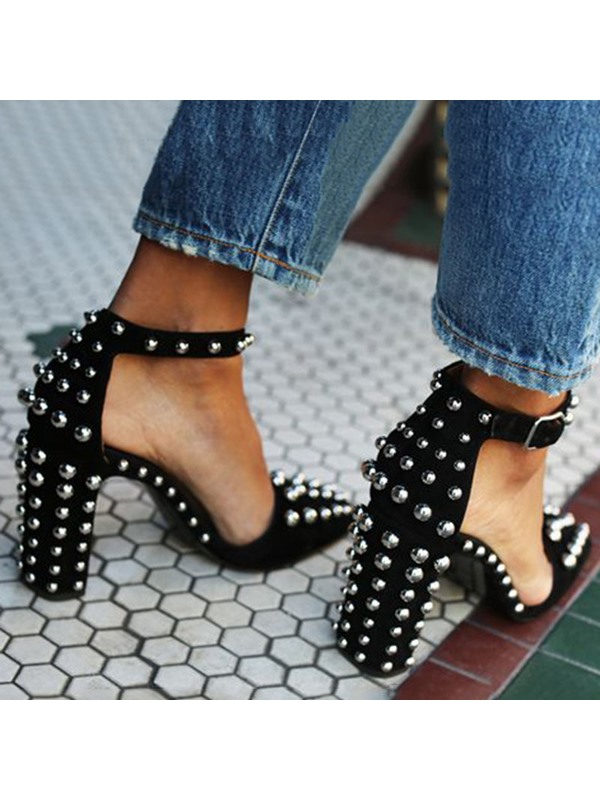 Rivet Chunky Heel Pointed Toe Pumps