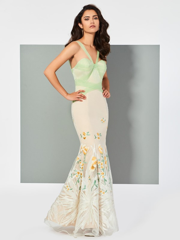 Charming Mermaid Straps Lace Floor-Length Evening Dress