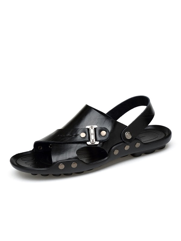 PU Open Toe Plain Men's Sandals