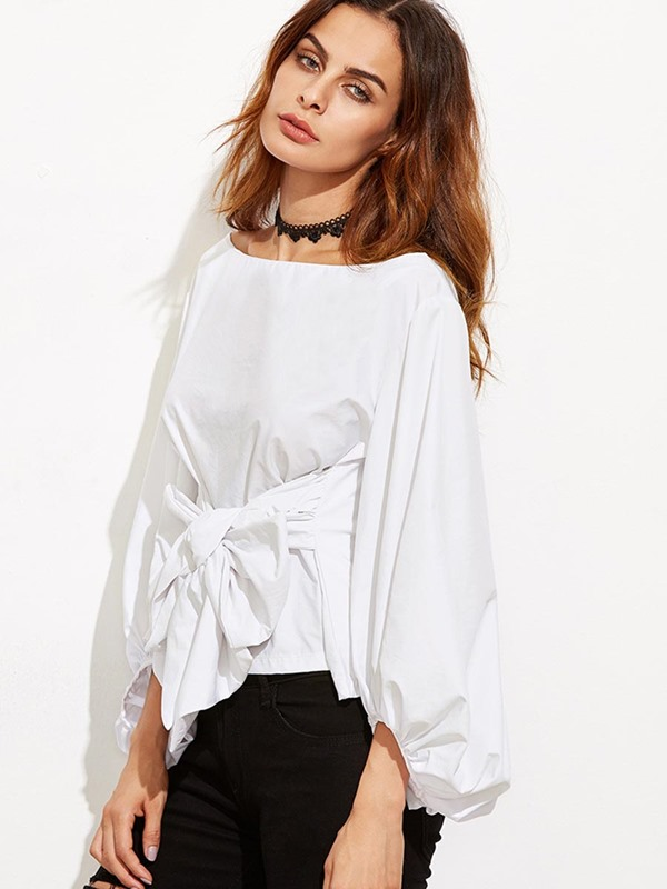 Plain Bowknot Lantern Sleeve Women's Blouse