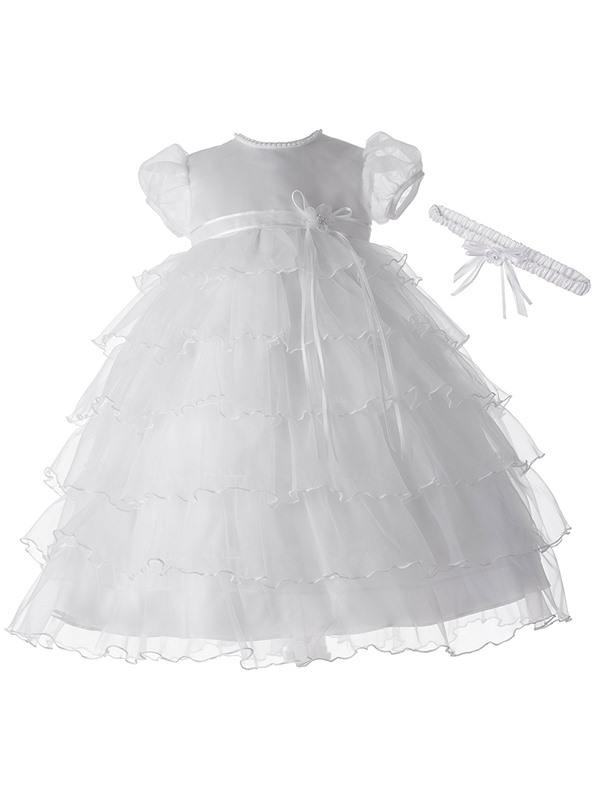 Sashes Tiered Baby Girl's Christening Gown