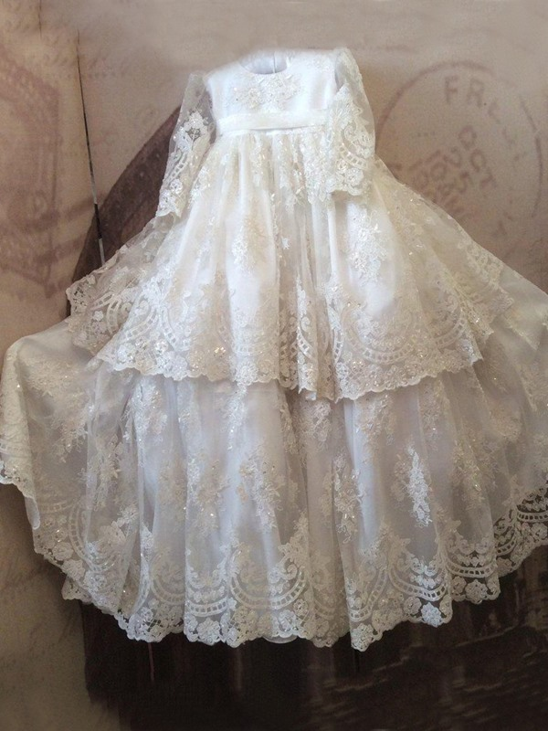 Sequined Tiered Appliques Lace Baby Girl's Christening Gown with Long Sleeve