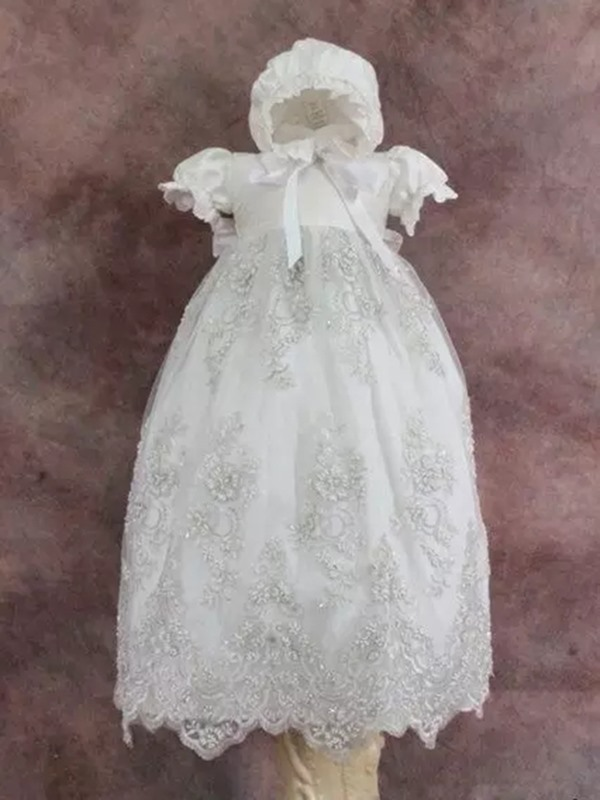 Appliques Baby Girl's Christening Dress with Sleeves