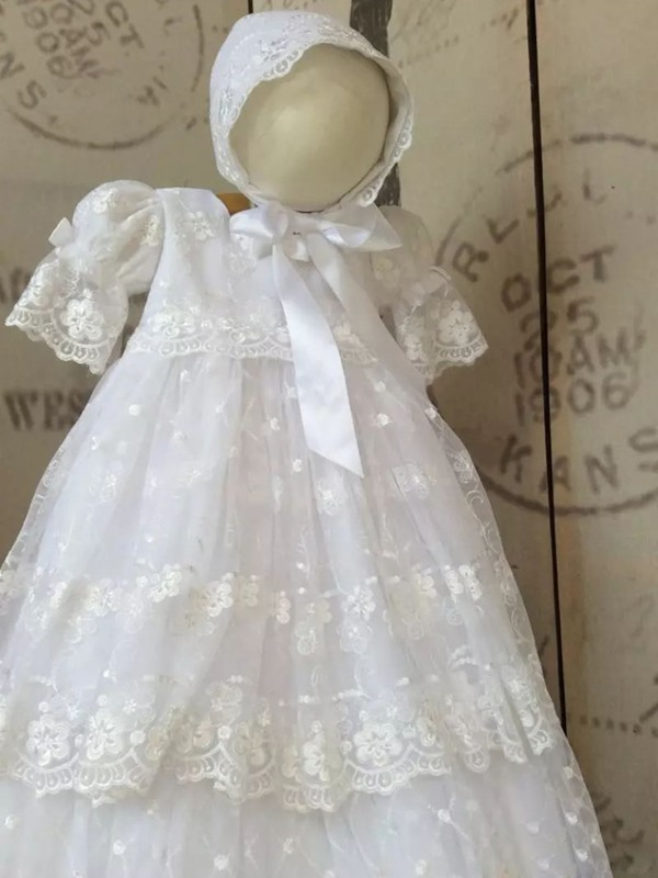 Adorable Long Sleeves Tiered Lace Baby Girl's Christening Dress with Bonnet