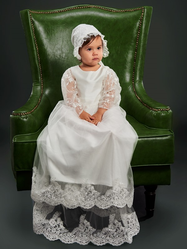 Tiered Appliques Long Sleeve Christening Dress for Baby Girl