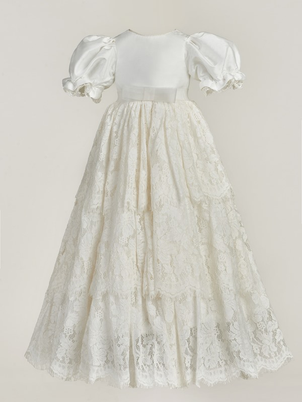 Round Neck Short Sleeve Lace Long Baby Girl's Christening Gown