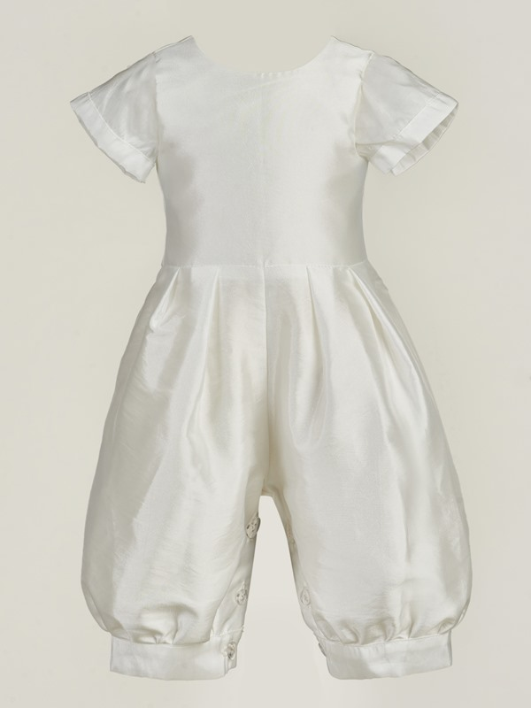 2-Pieces Romper Christening Gown with Long Sleeve