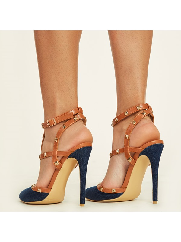 Cloth T-Shaped Buckle Rivet Pointed Toe Shoes