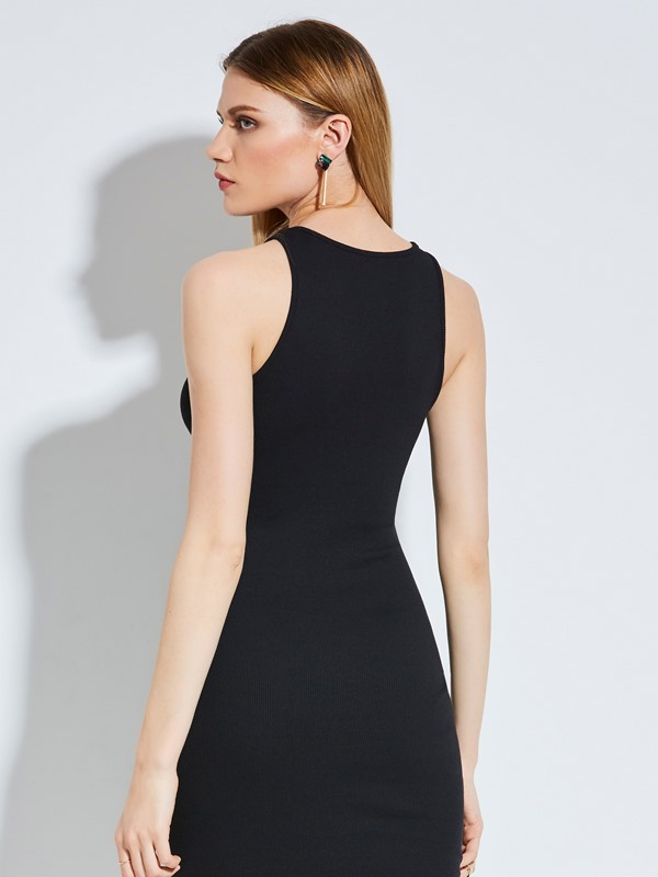 Round Neck Plain Hollow Women's Bodycon Dress