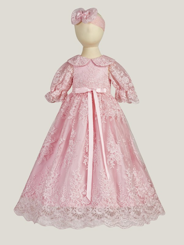 Appliques Lace Long Christening Gown for Girls