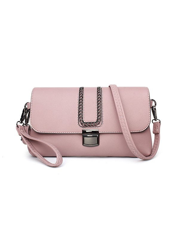 Solid Color Chain Adornment Crossbody Bag