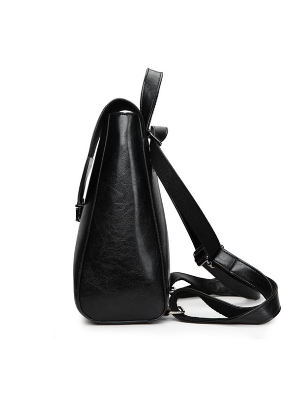 Korea Style Solid Color PU Backpack