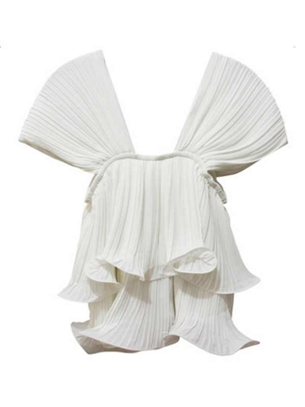 White Pleated Falbala Blouse