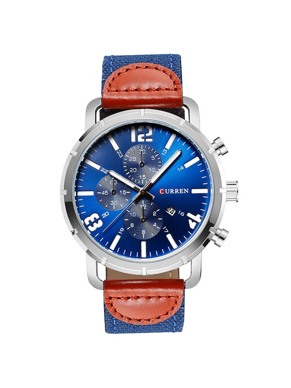 Luminous Color Block Leather Calendar Quartz Men's Watches