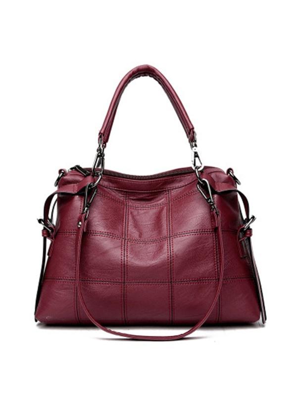 Graceful Solid Color PU Leather Satchel