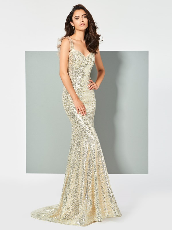 Gorgeous Straps Mermaid Lace Sequins Sweep Train Prom Dress