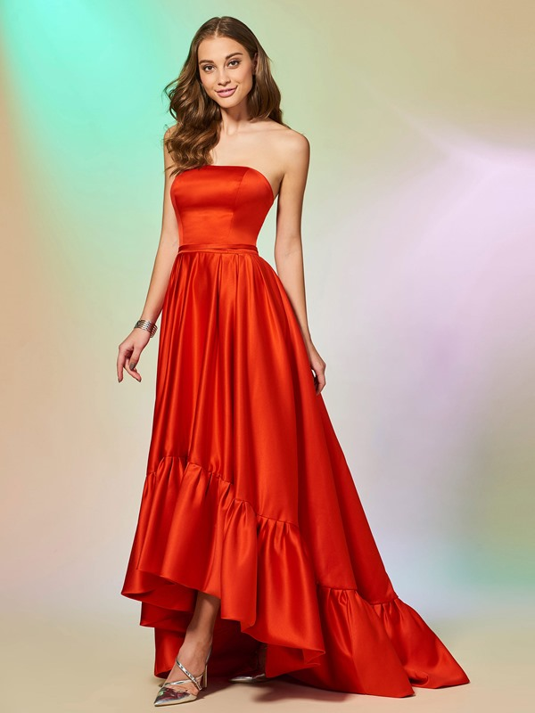Elegant Strapless Ruched Sleeveless A-Line Asymmetry Evening Dress