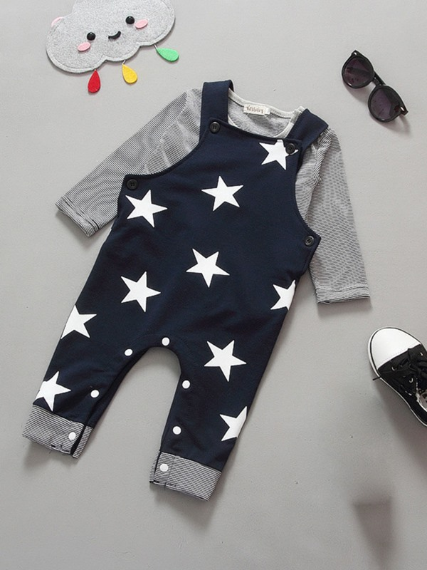 Black And White Five-Pointed Star Jumpsuit