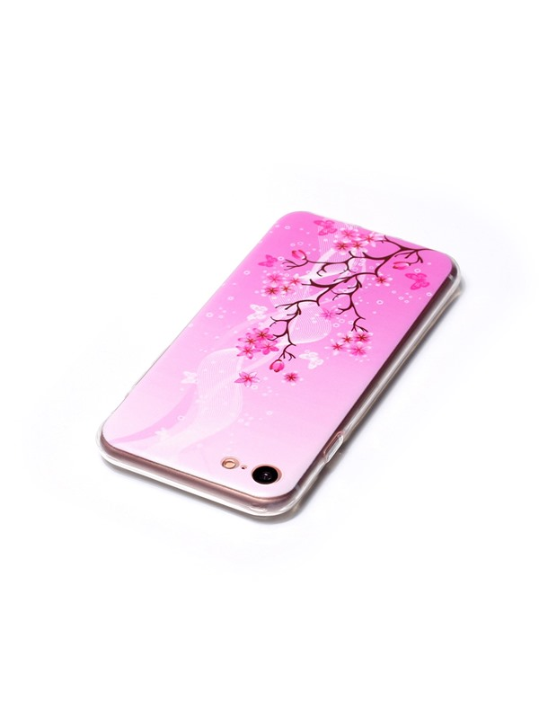 iPhone 7/7 Plus Case,Painted Pink Flowers TPU Ultra Thin Cover Case