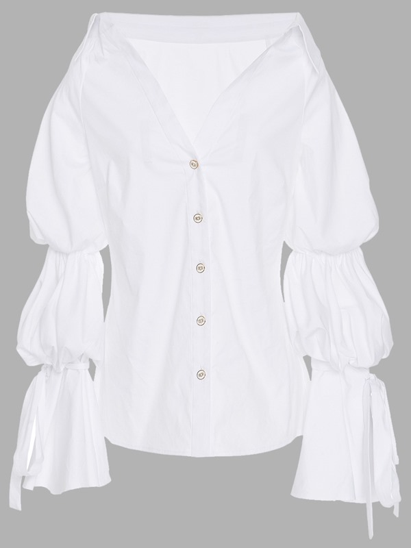 White Lapel Button Flare Sleeve Shirt