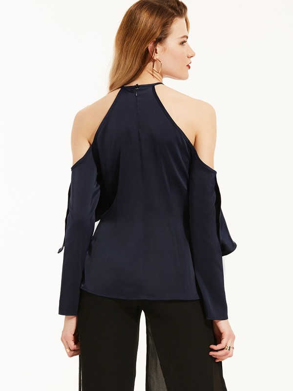 Halter Cold Shoulder Falbala Blouse