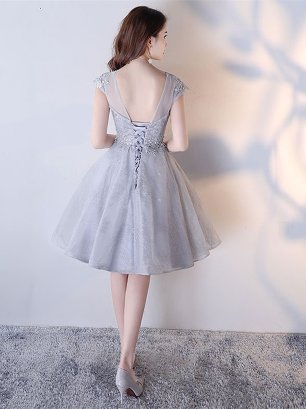 Stylish Lace A-Line Appliques Scoop Cap Sleeves Short Homecoming Dress