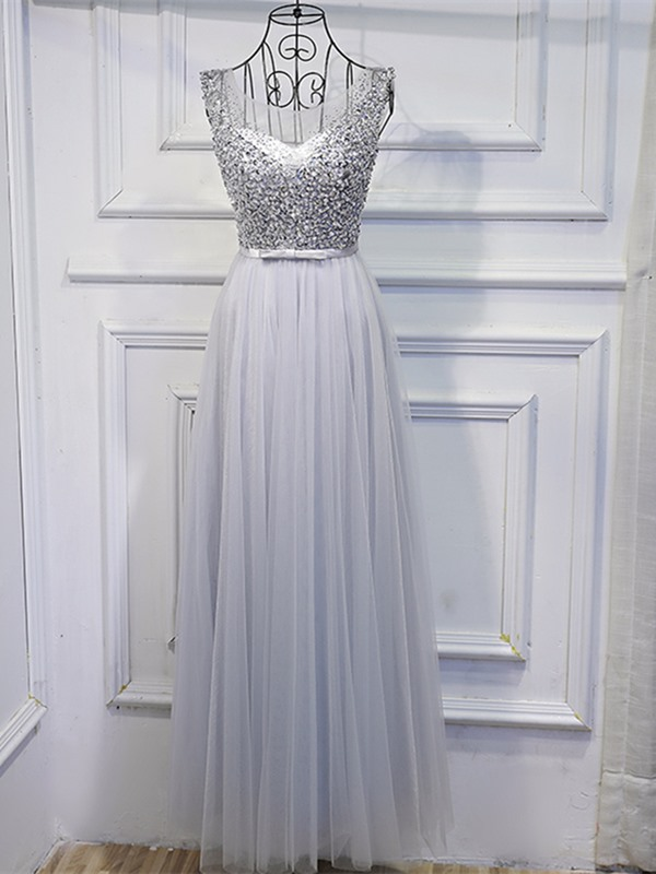 Elegant Beading Scoop Sashes A-Line Sequins Floor-Length Prom Dress
