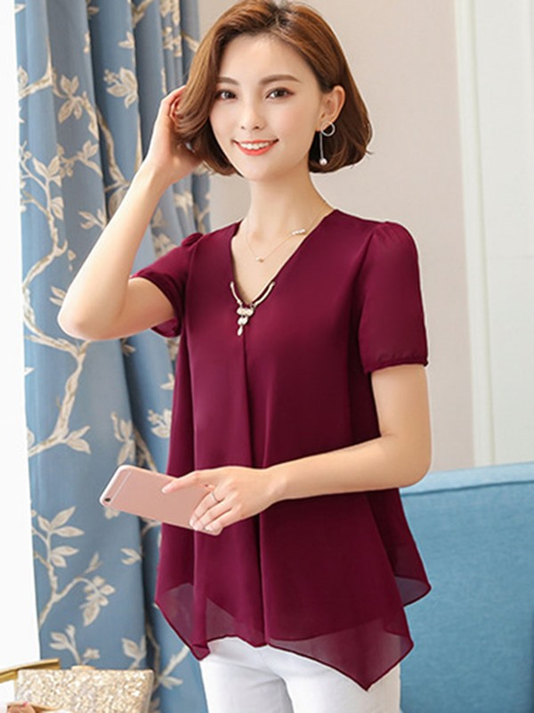 Plain V-Neck Chiffon Blouse