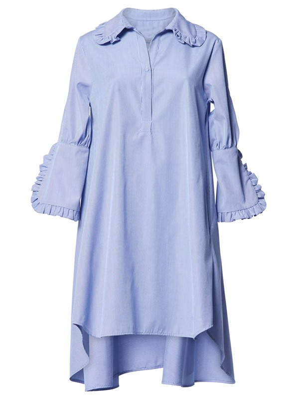 Blue Long Sleeve Women's Short Day Dress