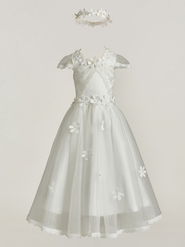 Lace Edge Cap Sleeves Flowers Baby Girl's Christening Gown