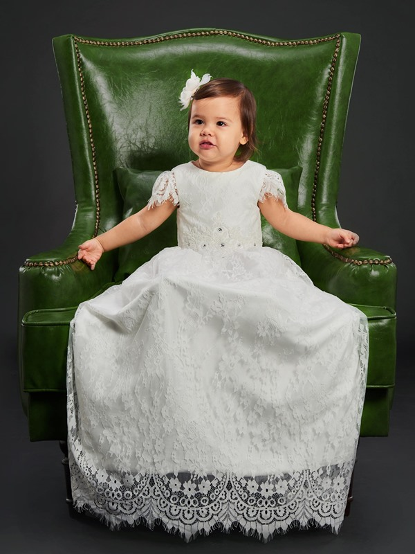 Beaded Waist Cap Sleeves Lace Girls Christening Baptism Gown