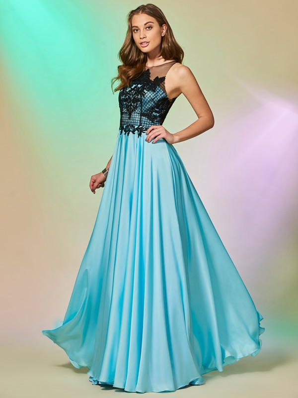 Jewel A-Line Button Lace Prom Dress
