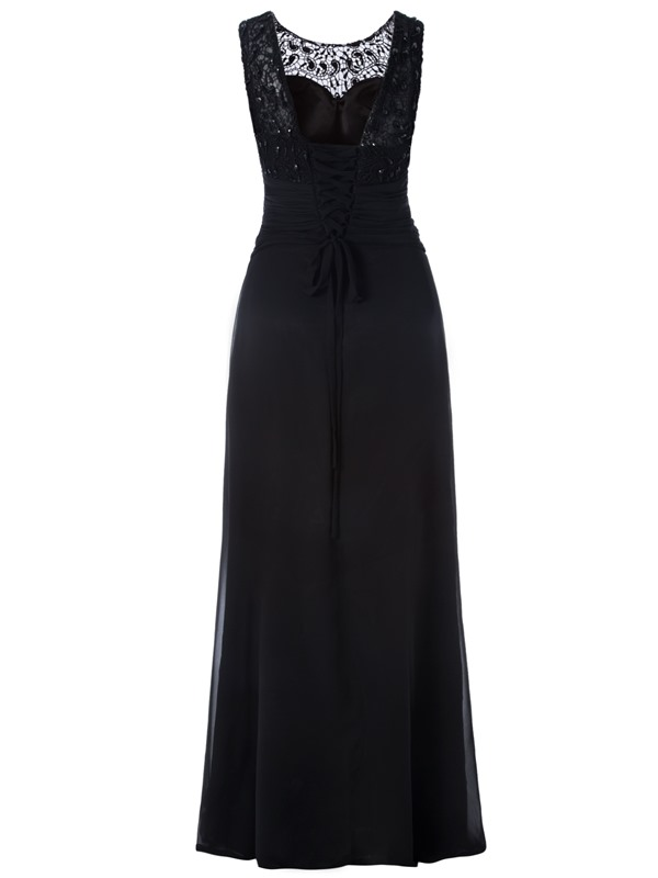 Elegant Appliques Beaded Pleats Scoop Neck Lace-Up A Line Evening Dress