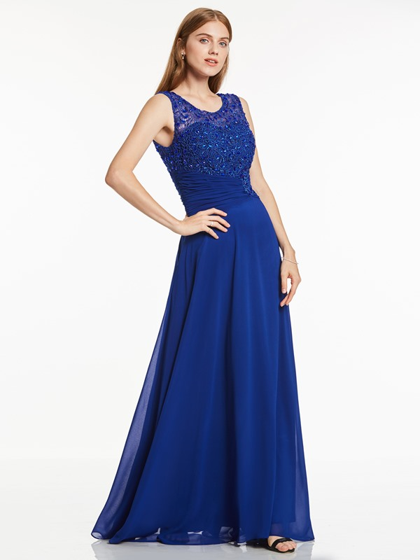 Appliques Beaded Pleats Scoop  Evening Dress