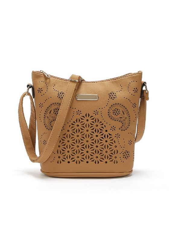 Bucket Shape Hollowed Crossbody Bag