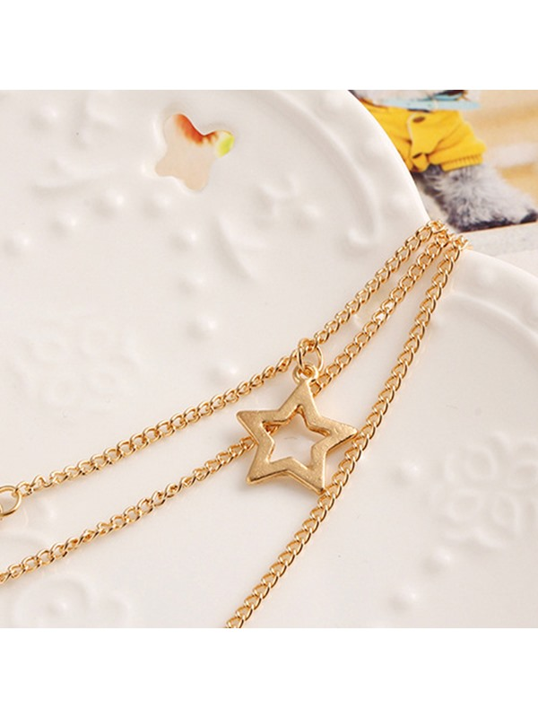 Cross-Feather-Eye Shaped Plain Alloy Horsewhip Multilayer Necklaces