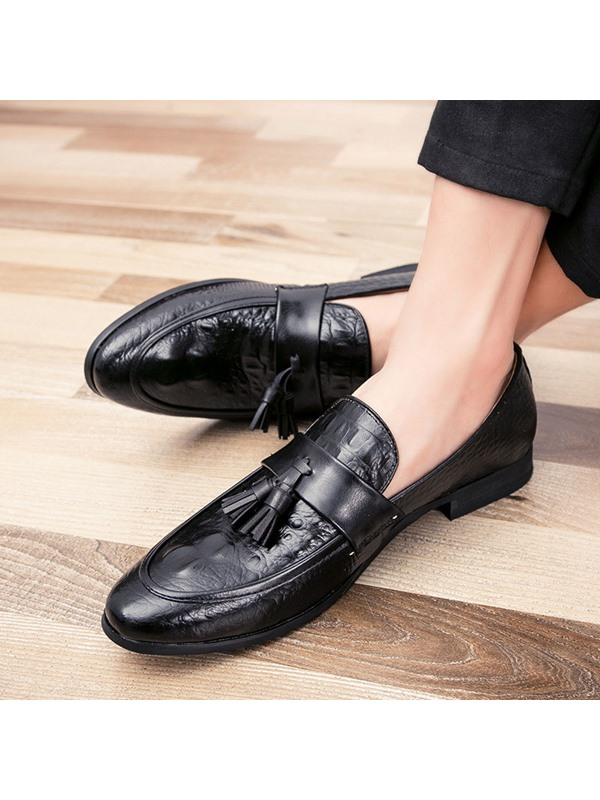 PU Fringe Slip-On Plain Men's Shoes
