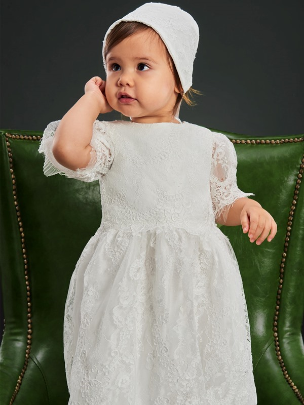 Infant Lace Long Baby Girls Christening Dress