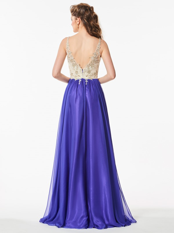 Attractive V-Neck Appliques Backless Floor-Length Prom Dress
