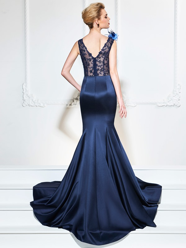 Attractive V-Neck Beaded Mermaid Lace Flowers Court Train Evening Dress