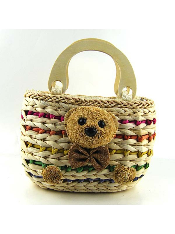 Lovely Teddy Bear Adornment Straw Bag