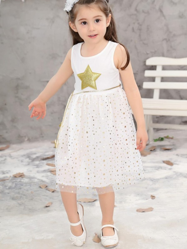 Sweet Star Printed Lace Patchwork Sleeveless Belt Girl's Dress