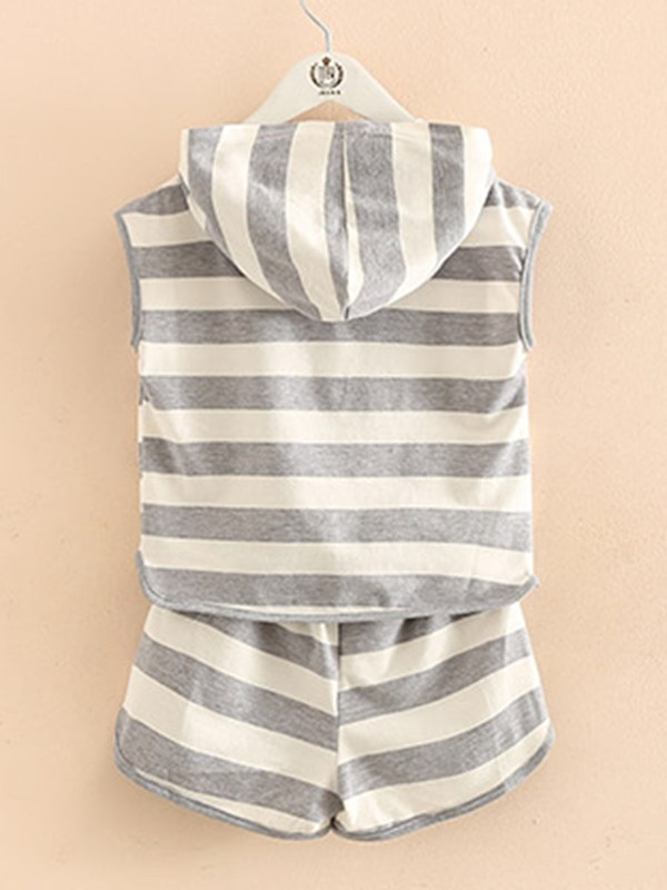 Simple Stripe With Hat 2-Piece Girl's Outfit