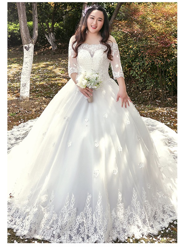 Ladylike Off the Shoulder Half Sleeves Appliques Plus Size Wedding Dress