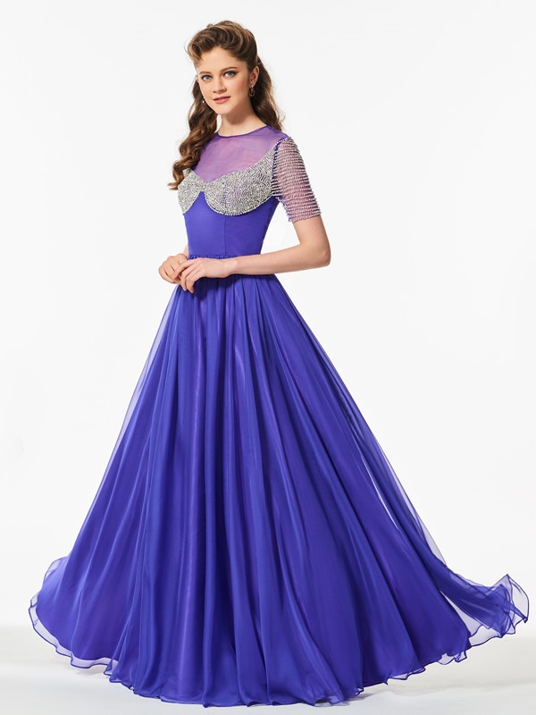 Scoop A-Line Beaded Floor-Length Prom Dress
