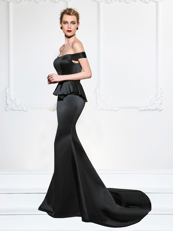 Simple Ruffles Off-the-Shoulder Trumpet Sweep Train Evening Dress